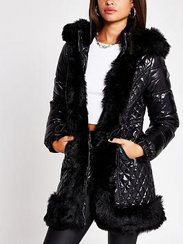 river-island-faux-fur-trim-padded-coat-black