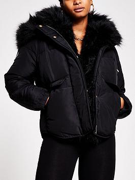 river-island-faux-fur-trim-short-boxy-padded-jacket-black
