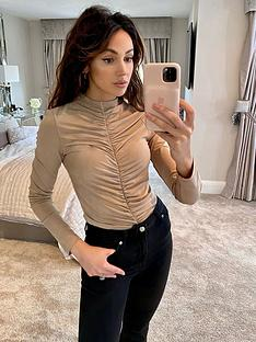 michelle-keegan-ruched-front-jersey-top-mocha