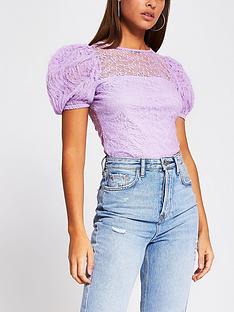 river-island-lace-puff-sleeve-top-purple