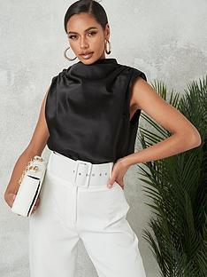 missguided-missguided-satin-drape-neck-sleeveless-blouse-black