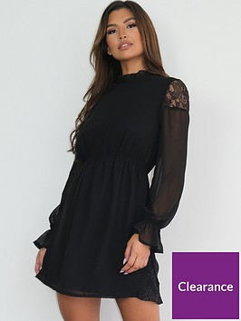 missguided-missguided-lace-insert-frill-neck-dress-black