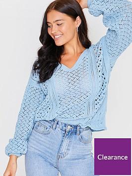 in-the-style-in-the-style-x-lorna-luxe-crochet-knit-bell-sleeve-oversizednbspv-neck-jumper-blue