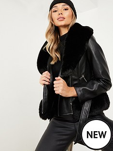 quiz-pu-faux-fur-trimnbspbiker-jacket-black