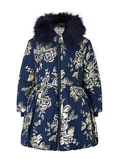 monsoon-girls-foil-flower-padded-coat-navy