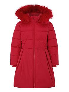 monsoon-girls-recycled-pleat-padded-coat-red