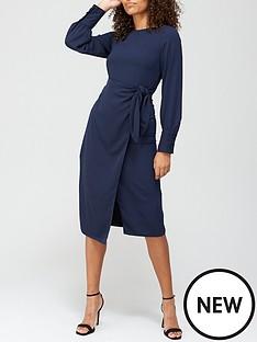 v-by-very-tie-waist-midi-dress-navy