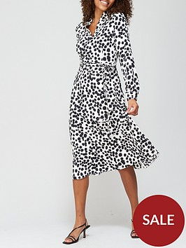 v-by-very-notch-neck-tie-midi-dress-spot-print