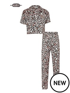 river-island-girls-boxed-animal-print-satin-pyjama-set-and-mask--nbspbrown