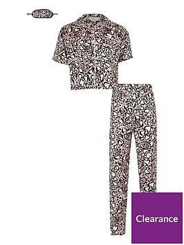 river-island-girls-boxed-animal-print-satin-pyjama-set-and-mask--nbspbrown