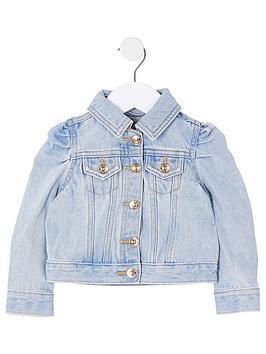 river-island-mini-mini-girls-puff-sleeve-denim-jacket--nbspblue