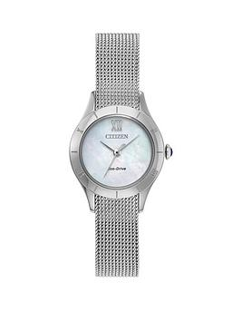 citizen-eco-drive-mother-of-pearl-dial-stainless-steel-mesh-strap-ladies-watch