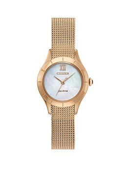 citizen-citizen-eco-drive-mother-of-pearl-dial-rose-gold-stainless-steel-mesh-strap-ladies-watch