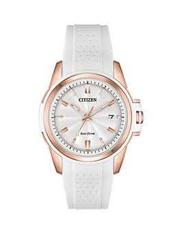 citizen-eco-drive-white-and-rose-gold-date-dial-white-silicone-strap-ladies-watch