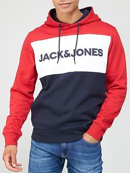 jack-jones-colour-block-logo-hoodie-red