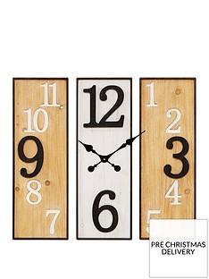 large-3-panel-metal-wooden-wall-clock
