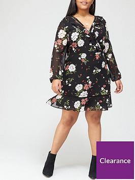 v-by-very-curve-lace-trim-long-sleeve-tea-dress-floral-print