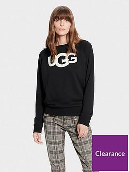 ugg-fuzzy-logo-crewneck-sweatshirt-black