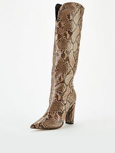 public-desire-slow-knee-boots-brown-snake