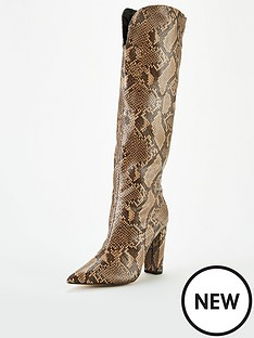 public-desire-slow-knee-boots-brown-snake