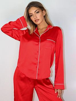 missguided-missguided-piping-satin-trousers-pyjama-set-red