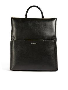 ted-baker-saffiano-bar-detail-backpack-black