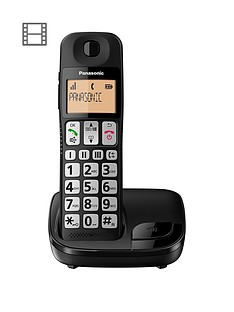 panasonic-panasonic-kx-tge110eb-big-button-single-dect-cordless-telephone-with-nuisance-call-blocker-lcd-display-single-handset-pack-black