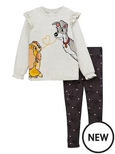 lady-and-the-tramp-girls-disneynbsp2-piece-frillnbsplong-sleeve-top-amp-leggings-setnbsp--grey