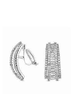 jon-richard-silver-plated-cubic-zirconia-statement-half-hoop-clip-on-earrings