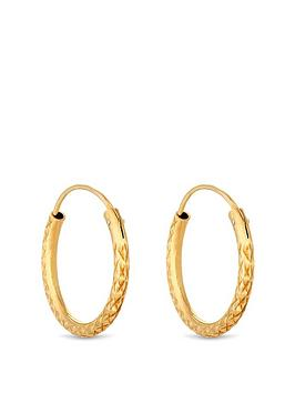 simply-silver-14ct-gold-plated-sterling-silver-diamond-cut-hoop-earrings