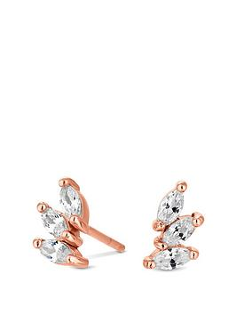 simply-silver-14ct-rose-gold-plated-sterling-silver-cubic-zirconia-triple-marquise-stud-earrings