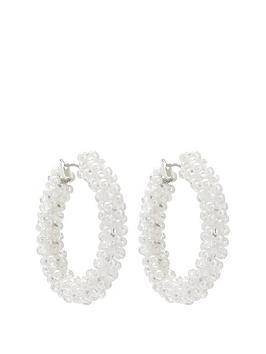 mood-silver-plated-pearl-bead-wrap-hoop-earrings