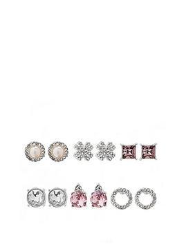 mood-silver-plated-pearl-crystal-stud-earrings-pack-of-6