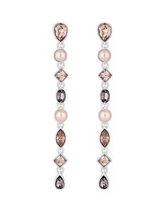 mood-silver-plated-tonal-pink-mix-shape-linear-drop-earrings