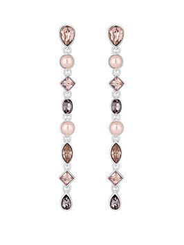 mood-silver-plated-tonal-pink-mix-shape-linear-drop-earrings