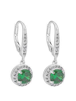 simply-silver-sterling-silver-cubic-zirconia-green-clara-drop-earrings