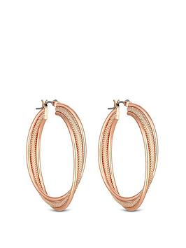 mood-rose-gold-plated-texture-cross-over-hoop-earrings