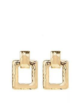 mood-gold-plated-hammered-medium-square-door-knocker-earrings