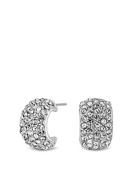 mood-silver-plated-pave-mini-half-hoop-stud-earrings