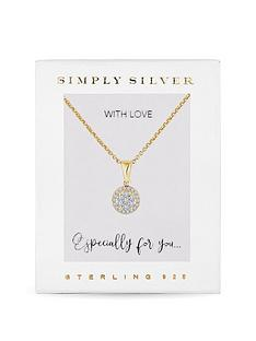 simply-silver-14ct-gold-plated-sterling-silver-cubic-zirconia-pave-disc-necklace-gift-boxed