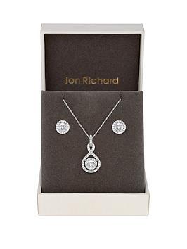 jon-richard-silver-plated-clear-crystal-infinity-giftnbspset