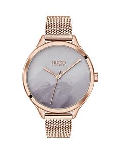 hugo-smash-grey-detailed-dial-rose-tone-mesh-bracelet-watch