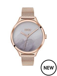 hugo-smash-grey-detailed-dial-rose-tone-mesh-bracelet-watch