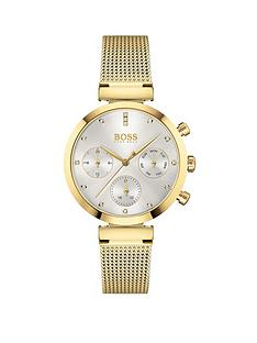 boss-flawless-silver-sunray-crystal-set-dial-gold-stainless-steel-mesh-strap-ladies-watch