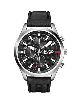 hugo-hugo-chase-black-chronograph-dial-black-leather-strap-watch