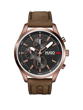 hugo-hugo-chase-black-chronograph-dial-brown-leather-strap-watch