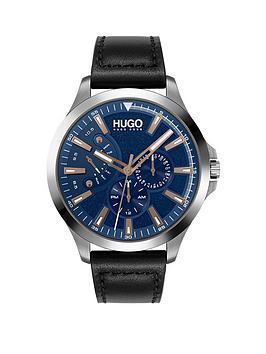 hugo-leap-blue-multi-dial-black-leather-strap-mensnbspwatch