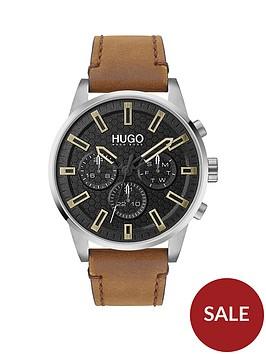 hugo-hugo-seek-black-chronograph-dial-tan-leather-strap-watch