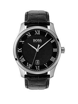 boss-boss-master-black-stainless-steel-dial-black-leather-bracelet-watch