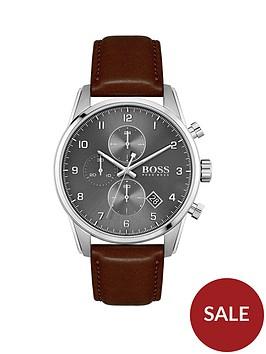 boss-blue-dial-chronograph-bronze-ip-strap-watch